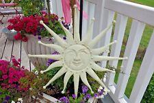 Shabby Schöne Große Lachende Sonne Innen Aussen Deko Metall Antik-Weiß 59 cm NEU