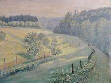 M. Ulrich signiert - Pastell-Gemälde: LANDSCHAFT MIT WÄLDERN, WIESEN UND ZÄUNEN