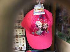 KIDS GIRLS PINK DISNEY FROZEN SUMMER CAP HAT WITH VELCRO ADJUSTABLE FASTENING
