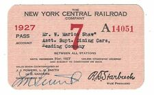 1927 New York Central Railroad Exchange Pass