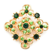 Crystals Vintage Lot Antique Job Jewellery New Gold Pin Back Flower Brooch Green