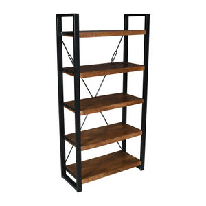 Wooden And Black Metal Industrial 5 Tier Bookshelf Bookcase Storgae Unit Shelves