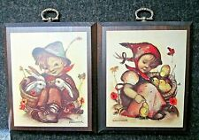 Vintage Set/2 Hummel Prints On Wood Wall Plaques-Boy W/Bunnies-Girl W/Chicks