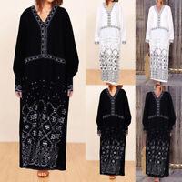 UK Women Long Sleeve V-Neck Kaftan Vintage Printed Casual Loose Baggy Maxi Dress