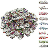 50Pcs 8mm Glass Spacer Silver Plated Spacer Loose Beads Jewelry Findings Making