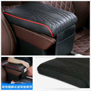 Stripe Car Armrest Cushion Center Console Box PU Leather w/Front Storage Bag