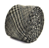 Frederick Thomas Designer Tweed Wool Mens Tie - Grey Black Navy Blue - Check