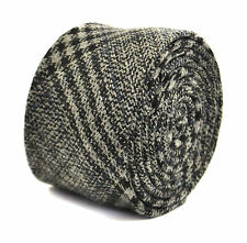 Frederick Thomas homme gris 100% LAINE TWEED Cravate avec subtil rayures bleues