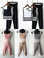 UK Women Ladies Stripe Kintted Cami Top With Trouser Suit 2 Pieces Set