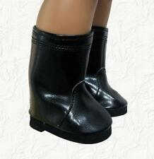 Doll Clothes Boots Side Zip Black Faux Leather Fit 18 inch American Girl