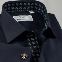 Black Herringbone Twill Formal Business Dress Shirt Solid Plain Sydney