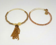 LOT OF 5 ALEX AND ANI CHARM BANGLE GOLD AND SILVER BEADED BRACELETS
