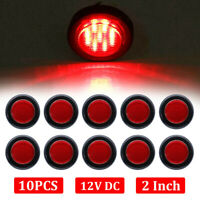 """10X 2"""" Inch Red LED Round Side Marker LED Clearance Tail Light 12V Truck Trailer"""