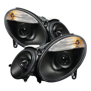 Mercedes Benz W211 07-09 E320 E350 E500 E63 Black Halo LED Projector Headlights