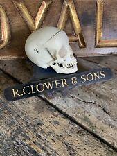 More details for antique vintage funeral directors trade sign metal r clower & sons black gold