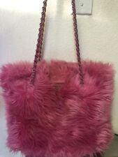 Prada Fur Pink Chain Shoulder Tote Handbag Italy New Authentic