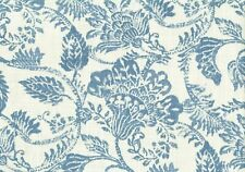 2.75 Yards Covington ;Fabric Blue Ecru Floral  Drapery Upholstery