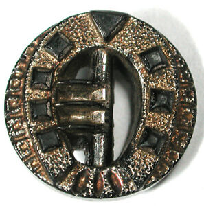 """Antique Glass Button Pierced Buckle with Silver Luster - 5/8"""""""