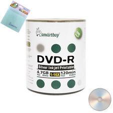 100 Smartbuy DVD-R 16X 4.7GB Silver Inkjet Printable Disc+FREE Micro Fiber Cloth