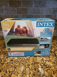 Intex Dura Beam Standard Deluxe Pillow Rest Raised Airbed w/ Built in Pump, Twin