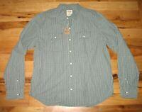 Fossil 54 Cotton Green Blue Check Roman Two Pocket Long Sleeve Shirt Mens XL NWT
