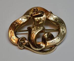 Antique artisan Solid 10k Gold unique Snake -  Belt shape pin 7.8 gram