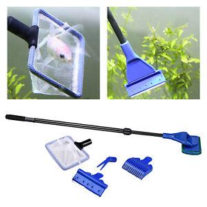 5 in 1 Complete Aquarium Cleaning Tool Kit Non-Slip Handle Cleaner Set