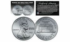 1943 TRIBUTE Steelie WWII Steel PENNY Coin Clad in Genuine PLATINUM Lot of 3