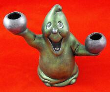 HALLOWEEN GHOST CASPER CANDLE HOLDER STANDING SMILING METALLIC GREEN PURPLE X 2