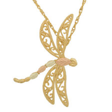 10K Black Hills Gold Dragonfly Pendant Necklace