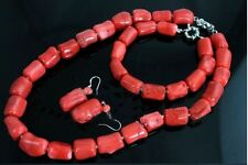Natural Red Coral Bead Cylinder Choker Necklace18'' Bracelet Earring Jewelry set