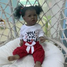 "23"" Reborn Toddler Girl Doll Black Skin Full Body Silicone African American Baby"