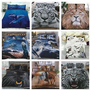 3D Animal Printed Duvet Cover Pillow Cases Quilt Bedding Set All Sizes
