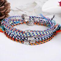 2mm black leather friendship bracelet adjustable with silver heart charm