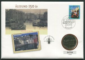 Norway 1998.04.20. Ålesund 150th City Anniversary CuNi BU Medal  Official Cover