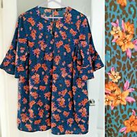 JD Williams Leopard Print Dress 30 Floral Ruched 3/4 Sleeve Unlined Animal
