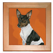 "Rat Terrier Dog Kitchen Ceramic Trivet Framed in Pine 8"" x 8"""