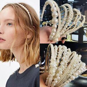 Women Bridal Pearl Hairband Headband Hair Accessories Wedding Party