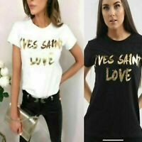 Ladies Short Sleeves YVES SAINT LOVE gold foil print slogan Casual T-Shirts Top