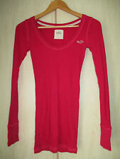 ladies HOLLISTER PINK COTTON LONG SLEEVE CREW NECK TOP SIZE SMALL
