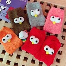3D Eyes Funny Coral Fleece Socks Women Thick Plush Warm Boat Sock Hosiery Gifts
