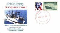 WABASH VICTORY Ship named for Wabash College Crawfordsville, Indiana Handstamped
