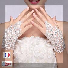 Gants courts blancs élégants mariée dentelle  mariage réglable ENVOI RAPIDE