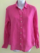 Lands End S Blouse Pink 100% Linen Top Button Front Long Sleeves Lightweight