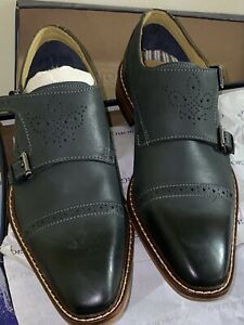 Georgio Brutini Size 7.5 MENS LOAFER SHOES Black Cross Buckle Strap RAPIDE - NEW