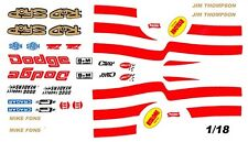 ROD SHOP DODGE Mike Fons - Jim Thompson Red 1/18th Waterslide DECALS