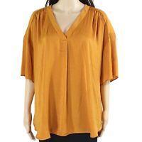 Alfani Womens Blouse Sunset Lily Orange Size XL Shirred V-Neck Solid $59 147