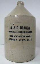 Antique A&C Brauer Jackson Ave Jersey City NJ Stoneware Liquor Jug RCP Co Akron