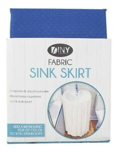 Fabric Sink Skirt Bathroom Decor  100% Waterproof Self Stick Blue