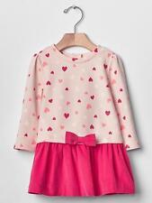 NWT Baby Gap Valentine's Day Pink Heart Print Dress 12-18 Months Baby Girl